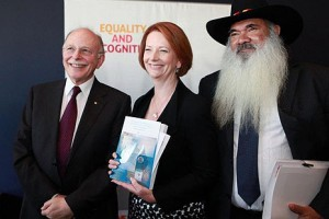 Mark Leibler with Australian Prime Minister Julia Gillard and Aboriginal activist Patrick Dodson