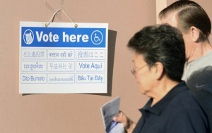 Voting sign in LA County; English optional