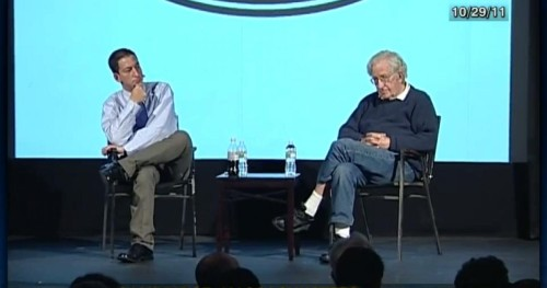 Glenn Greenwald with Noam Chomsky, a stated intellectual influence.