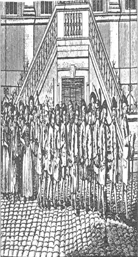 Gang of chained men being led to Blackfriars for transportation to America