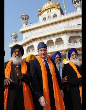 Prime Minister David Cameron on his visit to Amritsar's Golden Temple where he laid a wreath where Indians were killed by British colonial forces in 1919