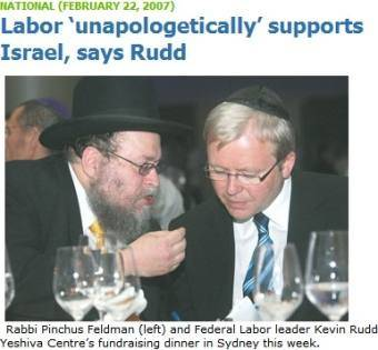 Former Australian Prime Minister Kevin Rudd (2007–2010) paying homage to organized Jewry