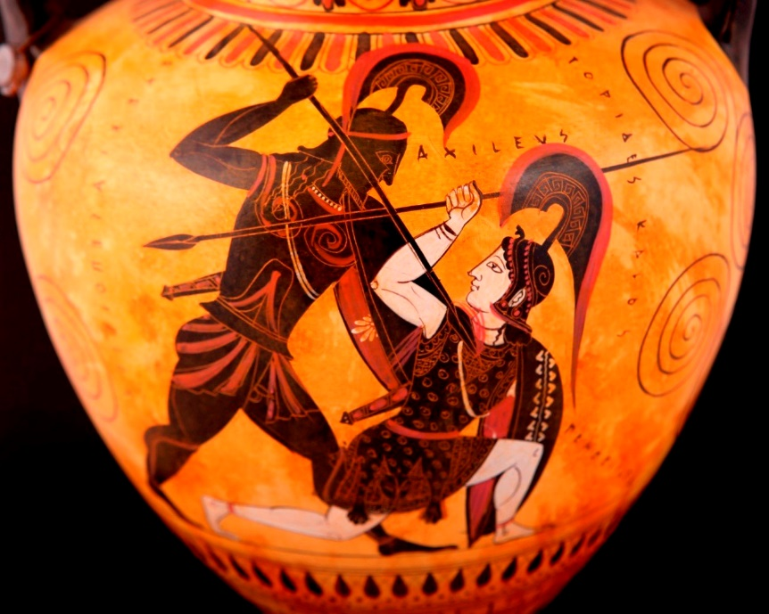 Achilles depicted on a Greek vase