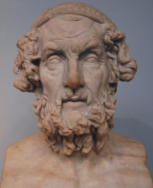 "Idealized portrait of ""Homer"" dating from the Hellenistic period"