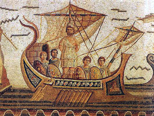 A scene from the Odyssey from a Roman mosaic