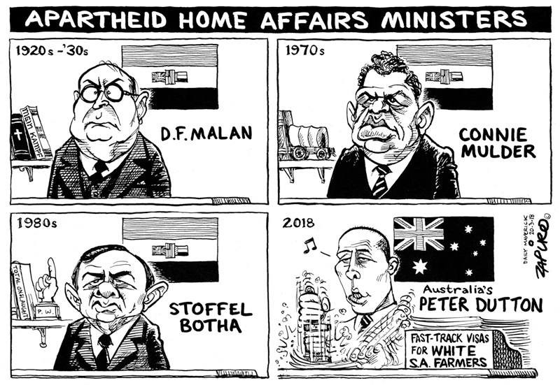 Jewish cartoonist Jonathon Shapiro recently equated Australian Immigration Minister Peter Dutton with leaders of apartheid South Africa for his willingness to save White South African farmers from mass murder