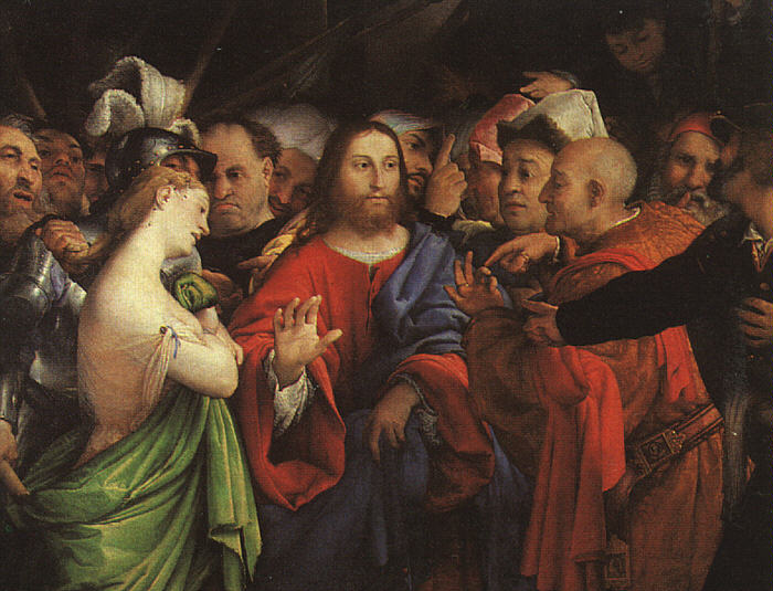 Lorenzo Lotto: Christ and the Woman Taken in Adultery (c. 1527)
