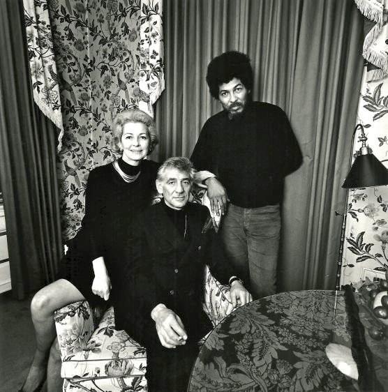 Leonard and Felicia Bernstein with Black Panther representative Donald Cox
