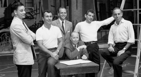 The Jewish creators of West Side Story Stephen Sondheim (far left), Arthur Laurents (second from left), Leonard Bernstein (second from right) and Jerome Robbins (far right)