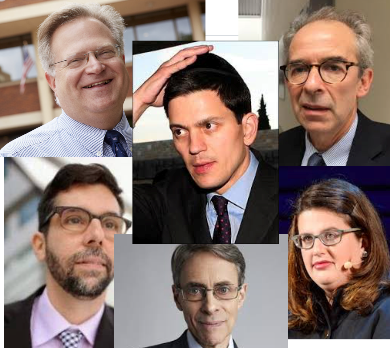 (Clockwise) Eric P. Schwartz, David Miliband, Iain Levine, Becca Heller, Kenneth Roth, Fred Abrahams)
