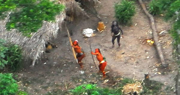"An ""uncontacted tribe"" in the Amazon responds to a helicopter."