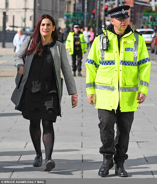 Luci in the Press as Victim: Berger with a police escort at the 2018 Labour Conference
