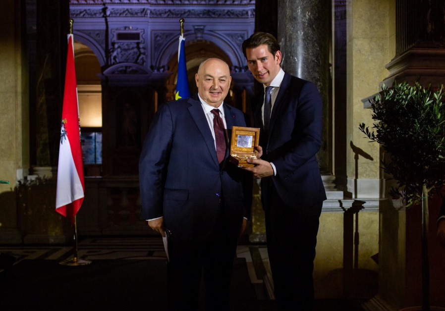 "Sebastian Kurz receives award from the European Jewish Committee's Moshe Kantor for his compliance in a modern day ""Direct Vertical Alliancea"