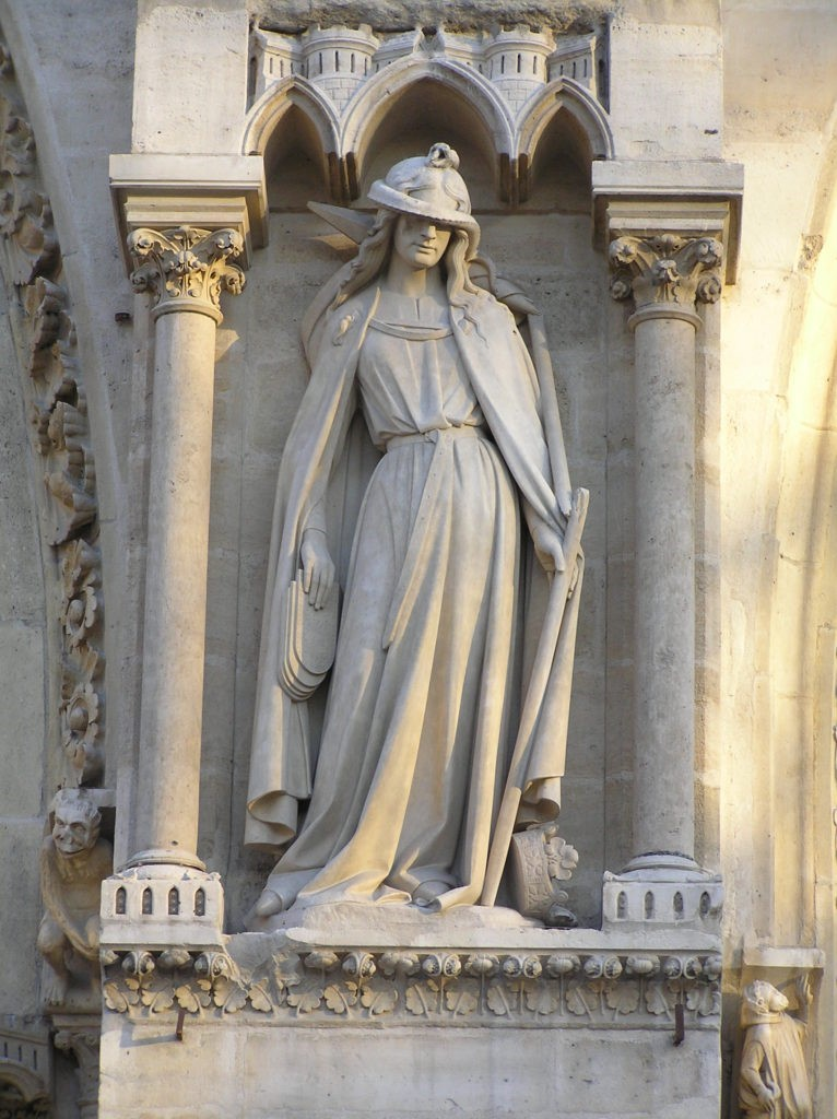Synagoga, as depicted on the exterior of Notre Dame, Paris