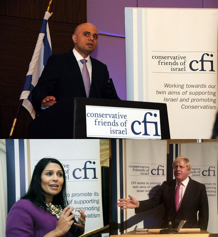 The Goy-Grovel: Sajid Javid, Priti Patel and Boris Johnson perform at Conservative Friends of Israel (CFI)