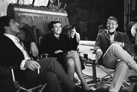 Director Mike Nichols on set with Dustin Hoffman and Anne Bancroft