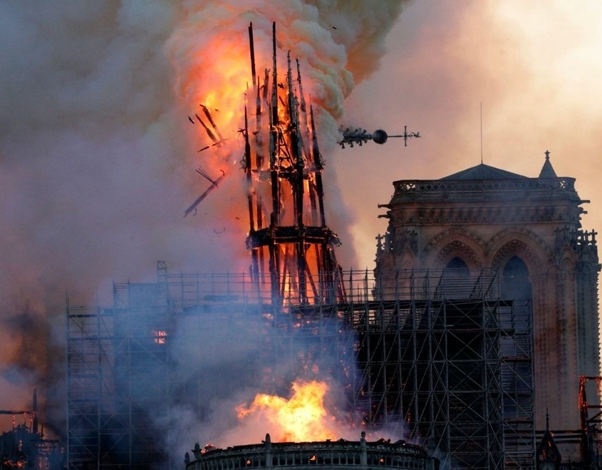 The Cathedral of Notre Dame burning, April 15, 2019. Much of the cathedral was built during the reign of St. Louis.