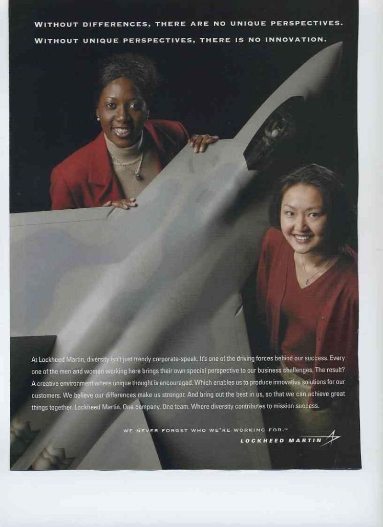 Lockheed Martin ad featuring non-White female aerospace designers