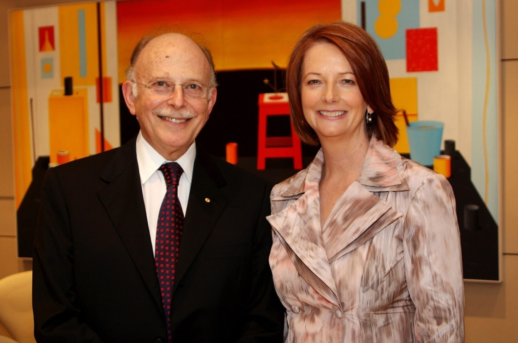"""Mark Leibler with former Prime Minister Julia Gillard: """"A wholly-owned subsidiary of the Israel Lobby"""""""