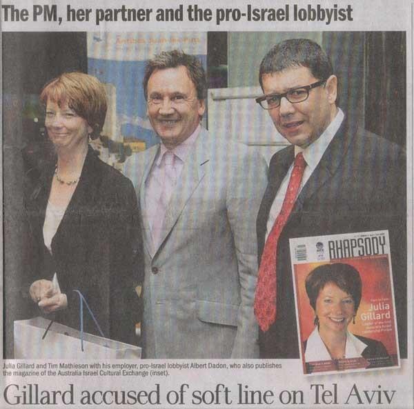 Gillard with her partner Tim Mathieson and Albert Dadon