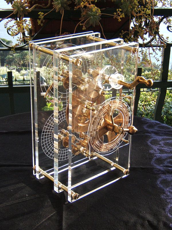 A work of staggering genius: the 2100-year-old Antikythera mechanism, an ancient Greek analogue computer and orrery used to predict astronomical positions and eclipses for calendar and  astrological purposes (modern reconstruction)