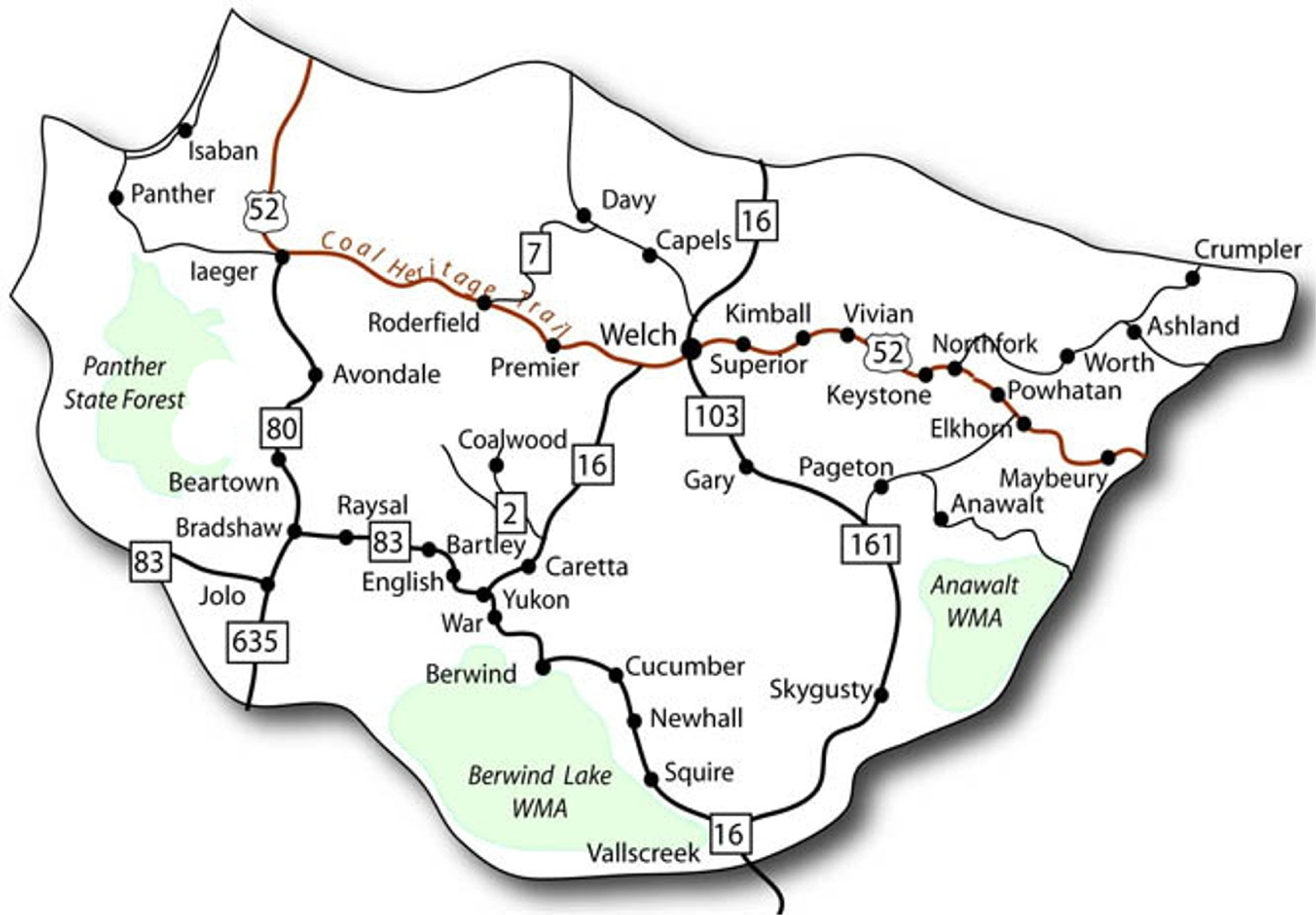 Map of McDowell County