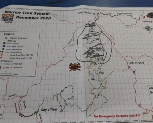 Warrior Trail System. On this trail map, my informant used a black sharpie to show me how much had recently been closed at the behest of one extraction industry or another.