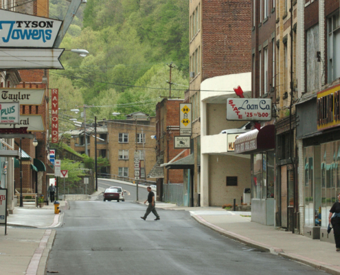Photo of downtown Welch in 2004 when its population was around 2500