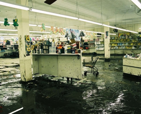 Welch, WV, May 9, 2002 — The Dollar General in Welch, West Virginia lost its complete inventory the second time in two years due to the May 2, 2002 flash.  Bob McMillan/ FEMA Photo